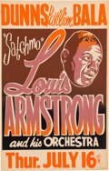 Music Memorabilia:Posters, Louis Armstrong Dunns Pavilion Concert Poster (1959). Very Rare....