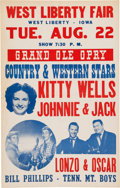 Music Memorabilia:Posters, Kitty Wells/Johnnie & Jack West Liberty Fair Concert Poster (1950). Very Rare....