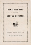 Music Memorabilia:Memorabilia, Elvis Presley Humes High Band Program (1953). Very Rare....