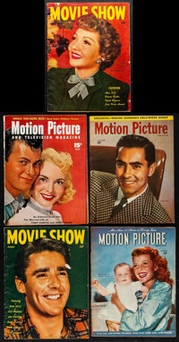 """Motion Picture Magazine & Other Lot (Fawcett, 1940s-1950s). Magazines (5) (Multiple Pages, 8.5"""" X 11""""). Mi..."""