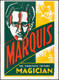"""Marquis the Magician (Hatch Show Print, 2002). Signed Reproduction Poster (30.25"""" X 41.25""""). Miscellaneous..."""