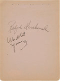 Autographs:Others, 1939-40 Waddy Young & Ralph Kercheval Signed Autograph Book Page....