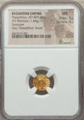 Ancients:Byzantine, Ancients: Theophilus (AD 829-842). AV semissis (13mm, 1.84 gm, 5h).NGC  MS 5/5 - 4/5....