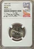 1999-P 25C Delaware MS64 NGC. This lot will also include the following: No Date 25C Clad Washington Quarter -- Bla