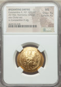 Ancients:Byzantine, Ancients: Constantine X Ducas (AD 1059-1067). AV histamenon nomismascyphate (26mm, 4.42 gm, 5h). NGC MS 4/5 - 4/5....