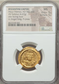 Ancients:Byzantine, Ancients: Maurice Tiberius (AD 582-602). AV solidus (23mm, 4.47 gm,7h). NGC MS 5/5 - 5/5....