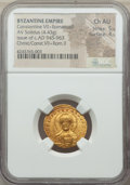 Ancients:Byzantine, Ancients: Constantine VII Porphyrogenitus (AD 913-959), withRomanus II (AD 945-963). AV solidus (20mm, 4.43 gm, 6h). NGC ChoiceAU 5/5 ...