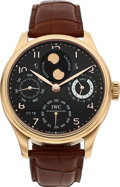 Timepieces:Wristwatch, IWC, Fine Portuguese Dual Hemisphere Moon Phase, Perpetual Calendar 7-day PR, 18k Rose Gold, Ref: IW502103, Circa 2016. ...