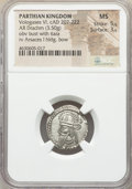 Ancients:Oriental, Ancients: PARTHIAN KINGDOM. Vologases VI (AD 207-222). AR drachm (18mm, 3.50 gm, 11h). NGC MS 5/5 - 3/5....