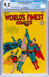 World's Finest Comics #21 (DC, 1946) CGC NM- 9.2 White pages
