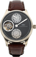 Timepieces:Wristwatch, IWC, Fine and Rare Portuguese Tourbillon, 18k WG Limited EditionRegulator Dial, No. 41/100, Circa 2009. ...