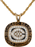 Football Collectibles:Others, 1985 Chicago Bears Super Bowl Championship Pendant Presented to Tight End Tim Wrightman....