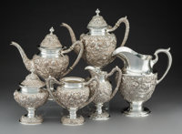A Six-Piece Schofield Co. Baltimore Rose Pattern Silver Tea & Coffee Service, Baltim