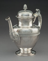 A Tiffany & Co. Neoclassical Silver Coffee Pot, New York, circa 1865-1870 Marks: TIFFANY & CO, QUALITY 925-1000...