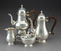 A Four-Piece Gorham Mfg. Co. Silver Coffee and Tea Service, Providence, Rhode Island, 1966 Marks to coffee pot: