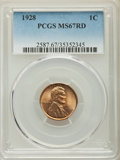 Lincoln Cents: , 1928 1C MS67 Red PCGS. PCGS Population: (68/0). NGC Census: (12/0). CDN: $800 Whsle. Bid for problem-free NGC/PCGS MS67. Mi...