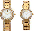 Timepieces:Wristwatch, A Pair of 18K Yellow Gold and Diamond Harry Winston Wristwatches.... (Total: 2 Items)