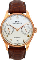 Timepieces:Wristwatch, IWC, Portuguese 7-Day Automatic, 18k Rose Gold, Ref: IW500101, Circa 2011. ...