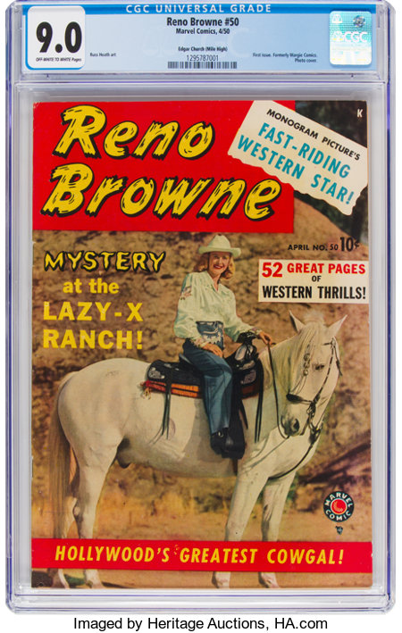 Reno Browne #50 Mile High Pedigree (Marvel, 1950) CGC VF/NM 9.0 Off-white to white pages....