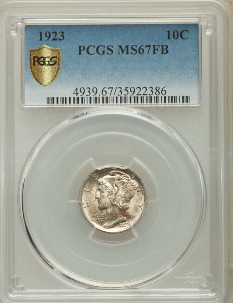1923 10C MS67 Full Bands PCGS Secure  PCGS Population: (88/4 | Lot