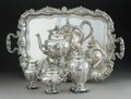 Silver Holloware, Continental:Holloware, A Five-Piece Italian Silver Tea and Coffee Set, Milan, 1934-1944. Marks: (44-fasces-MI), 800, (lion). 11-1/4 x 11-3/4 x ... (Total: 5 Items)