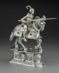A German Hardstone-Mounted Silver Figure of a Jousting Knight on Horseback, Hanau, late 19th-early 20th century Ma