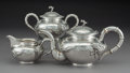 Asian:Chinese, A Three-Piece Chinese Export Silver Tea Set, Shanghai, circa 1900.Marks: ZEE WO, (yín mark). 5-1/2 x 10-1/4 x 5-1/2 inc...(Total: 3 Items)