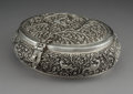 Silver Holloware, Continental:Holloware, A Large Indian or Burmese Silver Repoussé and Reticulated Box with Avian Motifs, late 19th-early 20th century. 4 x 10 x 8-3/...