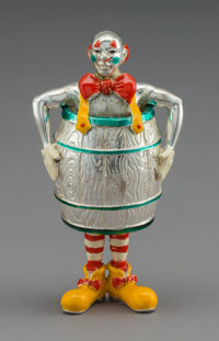 A Tiffany & Co. Silver and Enamel Circus Clown in a Barrel, Designed by Gene Moore, New York, circa 1990 Marks: