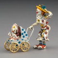 Silver & Vertu:Hollowware, A Three Piece Tiffany & Co. Silver and Enamel Circus Clown Mother and Baby in Carriage, designed by Gene Moore, New York, c...