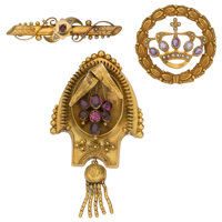 Multi-Stone, Diamond, Seed Pearl, Gold Brooches