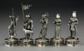 Silver & Vertu:Smalls & Jewelry, Five German Silver and Cabochon-Mounted Knight and Court Figures, 20th century. Marks: 925, STERLING, GERMANY. 6 inches ... (Total: 5 Items)