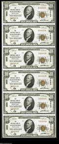 National Bank Notes:Pennsylvania, McKeesport, PA - $10 1929 Ty. 1 The NB of McKeesport Ch. # 4625 Uncut Sheet This serial number 3 Type 1 $10 sheet makes...