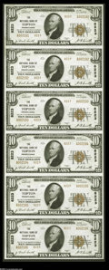 National Bank Notes:Pennsylvania, Topton, PA - $10 1929 Ty. 2 The NB of Topton Ch. # 8223 Uncut SheetA lovely and well-printed uncut Type 2 sheet which ...