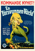 "Movie Posters:Science Fiction, The Lost World (First National, 1925). Swedish One Sheet (20"" X28.5"").. ..."