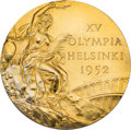 Olympic Collectibles:Autographs, 1952 Helsinki Summer Olympics USA Basketball Gold Medal Presented to Robert Kenney with Participation Certificate. ...