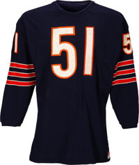 1970 Dick Butkus Game Worn Chicago Bears Jersey, MEARS A10--Photo Matched to 1972 Topps Card!