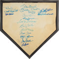 Baseball Collectibles:Others, Circa 1990 Hall of Famers Multi-Signed Home Plate with Mantle. ...