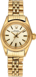 Timepieces:Wristwatch, Rolex Ref. 6700 Lady's 14k Gold Oyster Perpetual . ...