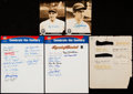 Autographs:Letters, Baseball Greats Signed Item Lot of 5....
