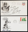 Autographs:Letters, 1969-74 Red Grange Signed First Day Cover Lot of 2....