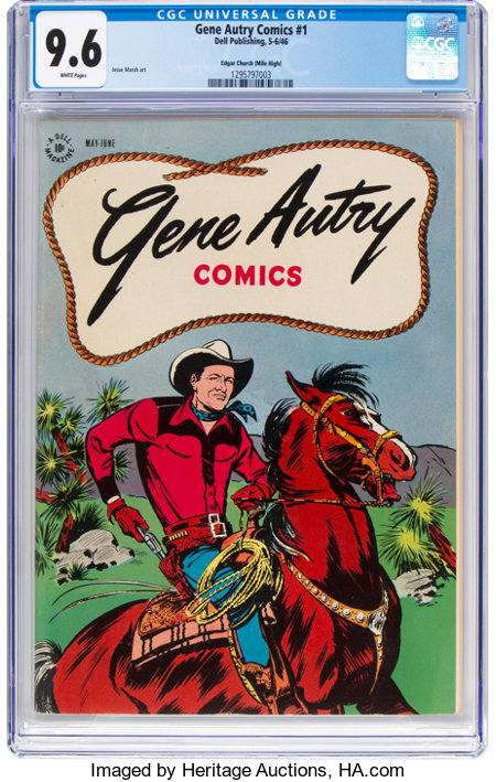 Gene Autry Comics #1 Mile High Pedigree (Dell, 1946) CGC NM+ 9.6 White pages....