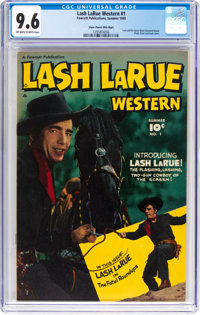 Lash LaRue Western #1 Mile High Pedigree (Fawcett Publications, 1949) CGC NM+ 9.6 Off-white to white pages
