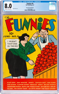 The Funnies #9 Mile High Pedigree (Dell, 1937) CGC VF 8.0 Off-white to white pages