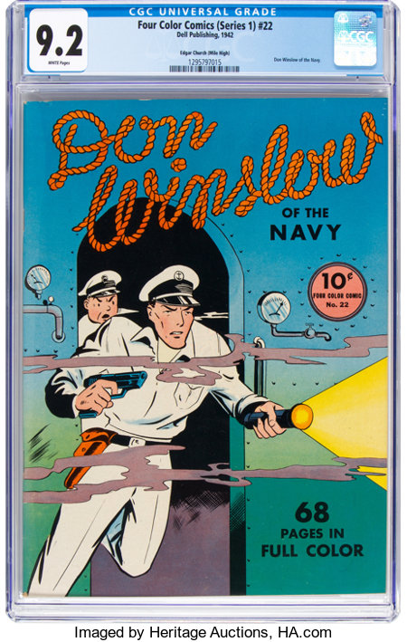 Four Color (Series One) #22 Don Winslow of the Navy - Mile High Pedigree (Dell, 1942) CGC NM- 9.2 White pages....