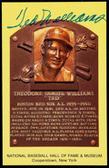 Autographs:Post Cards, Ted Williams Signed Hall of Fame Plaque Postcard. ...