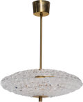 Decorative Arts, Continental:Lamps & Lighting, Carl Fagerlund (Swedish, 1915-2011). Ceiling Lamp, 1960s,Orrefors. Glass, brass. 18-1/2 x 16 inches...