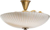 Orrefors Glassworks (Swedish, 20th Century) Chandelier, circa 1960 Brass and mold blown glass 20-