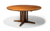 George Nakashima (American, 1905-1990) Round Cluster Dining Table, 1958 Walnut 29 x 59-1/2 inches