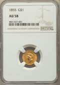 Gold Dollars, 1855 G$1 Type 2 AU58 NGC. NGC Census: (2056/1504). PCGS Population: (554/1380). AU58. Mintage 758,269. ...